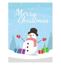 cute snowman on christmas work vector image