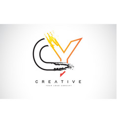 cy creative modern logo design with orange and vector image