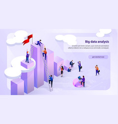 Data analytic company isometric web banner vector