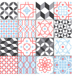 different tiles pattern collection colorful and vector image