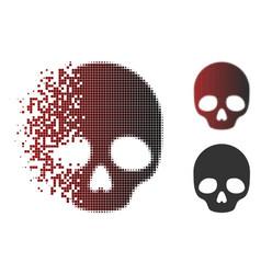dissolved pixel halftone skull icon vector image
