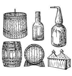Distillery set ink hand drawn vector
