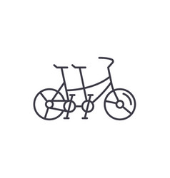 double bike line icon concept double bike vector image