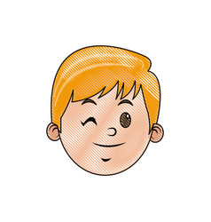 Drawing head face smiling child character vector