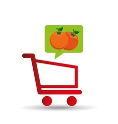 E-shopping fresh orange fruit design vector