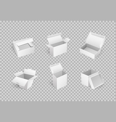 empty cardboard cartoon containers isolated icons vector image