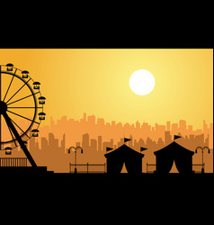 Flat amusement park scenery at sunrise vector
