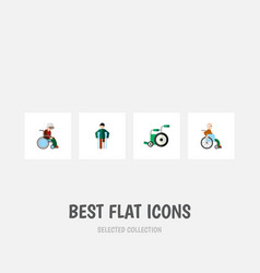 flat icon disabled set of wheelchair equipment vector image