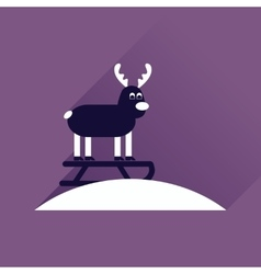 Flat icon with long shadow reindeer sledging vector