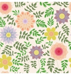 Floral pattern with leaves vintage vector