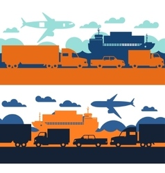 Freight cargo transport icons seamless patterns in vector image