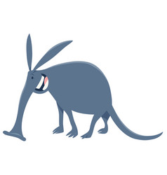 funny aardvark cartoon animal character vector image