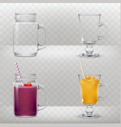 Glass cups for smoothies and cocktails are empty vector