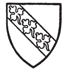 hervey bore gules a bend silver with three vector image