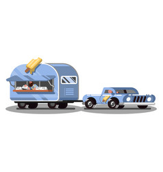 Ice cream food truck on road vector