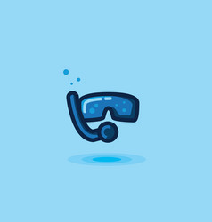 Icon mask and snorkel tube vector