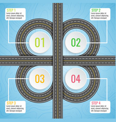 infographics template with clover road map top vector image