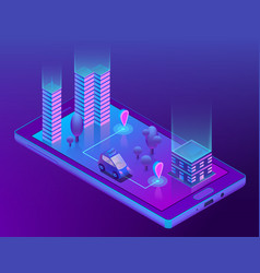 Isometric smart taxi app for smartphone vector