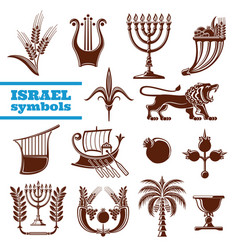 Israel culture history judaism religion symbols vector