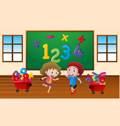 Kids learning math in classroom vector