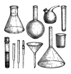 laboratory equipment sketches set hand drawn vector image