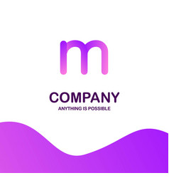 m company logo design with purple theme vector image