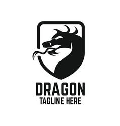 modern dragon shield logo vector image
