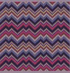 multicolor seamless knit pattern zigzag embroidery vector image
