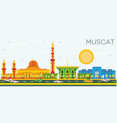 muscat skyline with color buildings and blue sky vector image