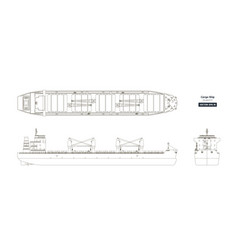 Outline drawing cargo ship vector