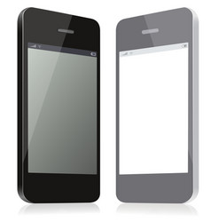 pair models smartphones black and gray of vector image