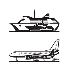 passenger transport by sea and by air vector image