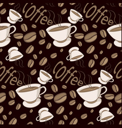 Pattern of coffee beans on black background vector