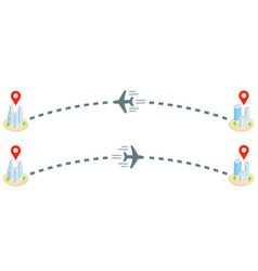 plane track and isometric buildings with location vector image