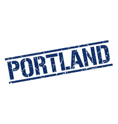 Portland blue square stamp vector