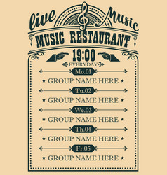 poster for music restaurant with live music vector image