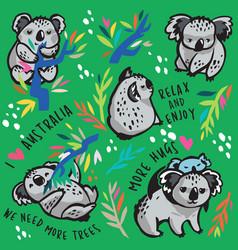 print cute koala characters vector image
