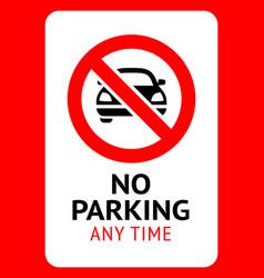 Prohibition sign no parking black forbidden vector