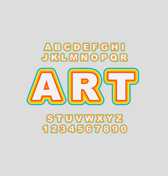 Rainbow stylized vintage font and vector