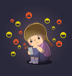 Sad girl victim cyberbullying online vector