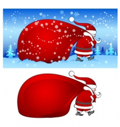Santa with bag in blue vector image