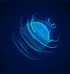 sci-fi abstract neon sphere futuristic digital vector image