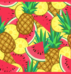 Seamless pattern with watermelon and pineapple vector