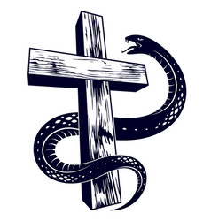 Serpent on a cross vintage tattoo snake wraps vector