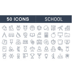 Set flat line icons school vector