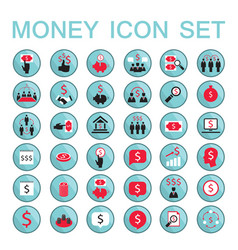 set icons business success saving earning money vector image