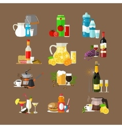 Set of beverages icons flat design vector