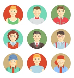 Set of boys avatar faces in flat style vector