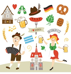 set of Germany and Bavaria symbols vector image