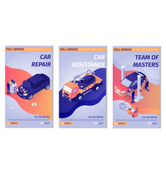 Set promo vertical posters for car service vector